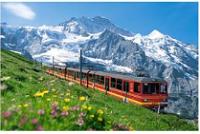 スイス 列車から見る山と花